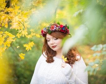Autumn Flower Crown Fall Wedding Tiara Hair Wreath Whimsical Hair Flowers Wedding Bridal Headpiece Woodland Head Wreath