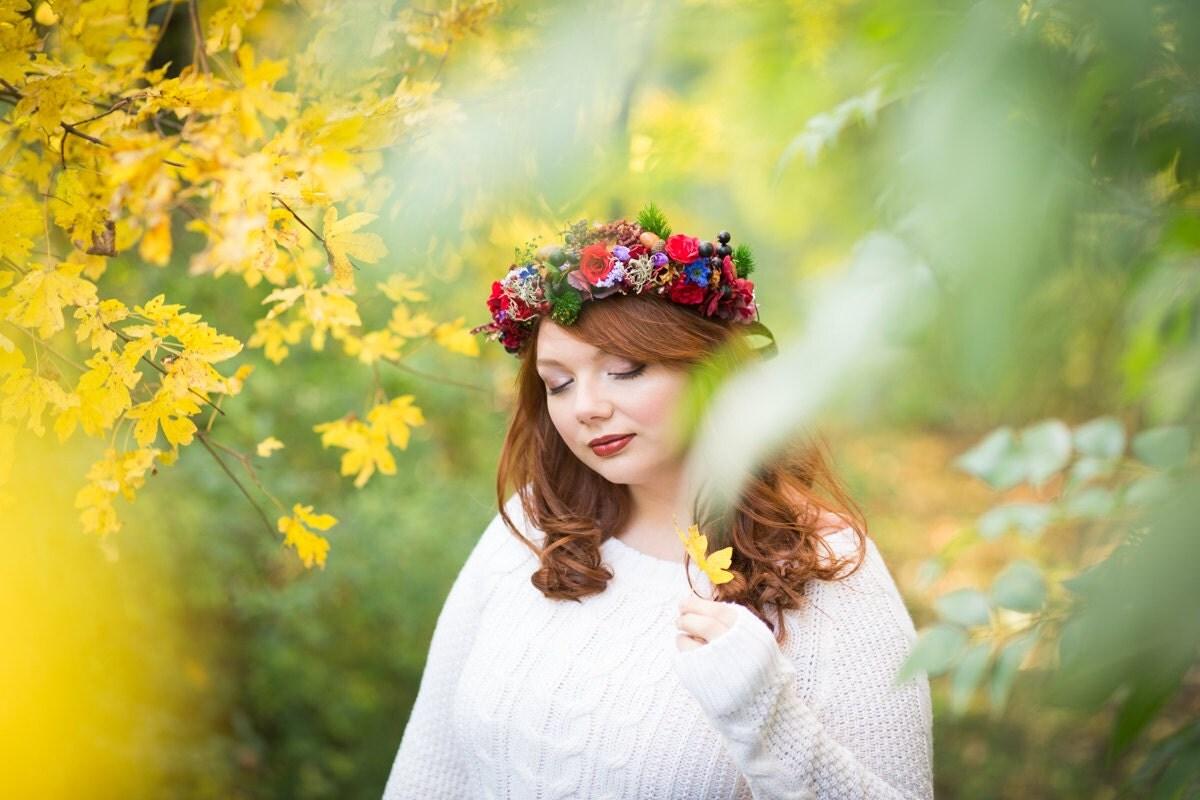 Autumn Flower Crown Fall Wedding Tiara Hair Wreath Whimsical