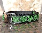 "Celtic Dog Collar - 1"" Bright Green Celtic Adjustable Dog Collar with Metal Buckle and Black Nylon Webbing"
