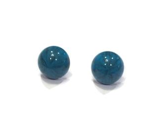 Stud Earrings - Blue Marbled Stud Earrings - Blue Earrings - Blue Stud Earrings - Silver Jewelry