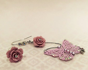 Asymmetrical Butterfly Earrings, Asymmetrical Flower Earrings, Butterfly and Rose Earrings (Purple)
