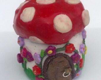 Toadstool fimo mini storage jar