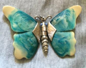 Vintage Plastic Butterfly Pendant