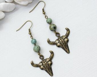 Cow Skull Earrings, Steer Skull Earrings, Turquoise Steer Skull Jewelry, Southwest Skull Earrings, Festival Fashion, Southwestern Earrings