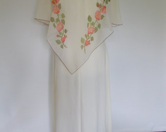Vintage maxi dress 70s cream floral dress evening gown with chiffon handkerchief overlay size medium large Uk 12 14
