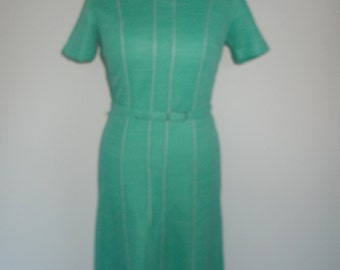 Vintage green dress 60s 70s Ladies Pride dress with belt size medium
