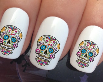 Skull nail stickers etsy nail art set 649 x24 colourful sugar skull water transfer decals stickers manicure set prinsesfo Image collections