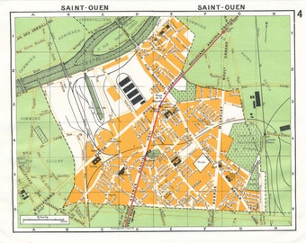 1977 Paris France Vintage Neighborhood Map, Saint-Ouen