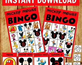 14 bingo cards - Mickey Mouse Bingo Game Set - Birthday Party Game - Instant Download