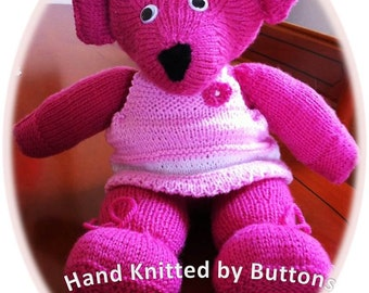 Hand Knitted Teddy bear, Pink teddy bear, CE tested teddy, UK Seller, Newborn gift,Christening teddy,Hand knitted teddy, Teddy Bear