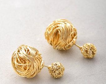 Leigha Yarn Ball Double Sided Earrings