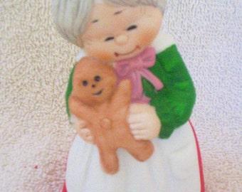 Vintage Mrs. Claus Bisque Porcelain Bell, Jasco, Great Condition