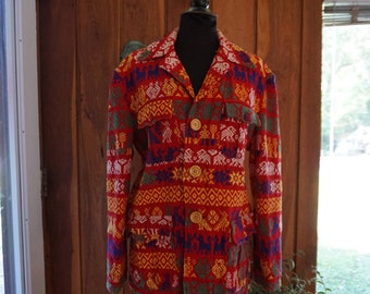 Women's Vintage 1970's Embroidered Woven Mexican Lightweight Jacket Size M-L