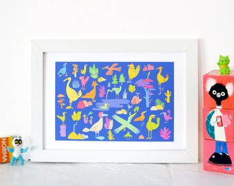 Birds illustration, art print, nursery room art, psychedelic birds, birds print, colourful print, dreamscape, A3 print, A4 print, cute print