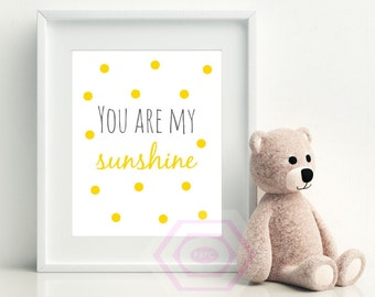 You are my sunshine wall art, nursery art, baby girl nursery, baby boy nursery, printable quote, wall decor, wall art, printable art