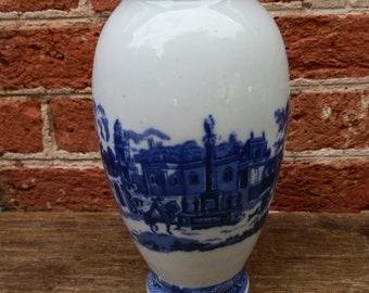 Vintage Blue and White Scenic Vase