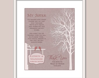 Maid of Honor Thank You Gift - Bridesmaid Thank You Gift - Maid Of Honor Poem - Wedding Rehersal Dinner Gift - Wedding Print - Sister