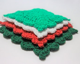 Christmas Crochet Dishcloth, Red Crochet Washcloth, Cotton Crocheted Washcloth, Cotton Dishcloths, Kitchen Dishcloths, Christmas Gift