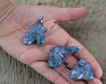 Celestial blue aura quartz cluster, blue aura crystal, wiccan crystal, pagan altar crystal, pagan gift, spiritual decor