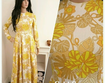 Vintage 60s Yellow Daisy Flower Power Boho Folk Maxi Cotton Dress / UK 6 8 / 34 36