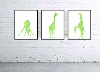 Giraffe Nursery Art Giraffe Nursery Prints Giraffe Watercolor Prints Kids Wall Art  - Set Set of 3 Prints Lime Green Nursery Decor