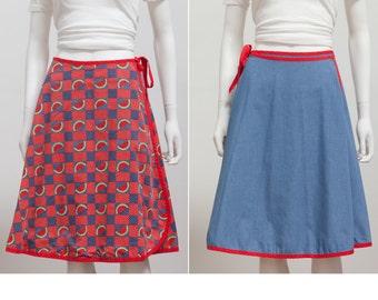Vintage 70's Watermelon Novelty Print A Line Wrap Skirt • High Waist Wrap Skirt • Reversible Wrap Skirt