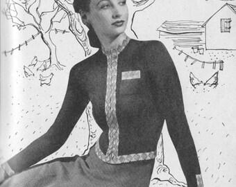 Vintage 1940 Knitting Pattern Ladies Zip-up Cardigan - digital file