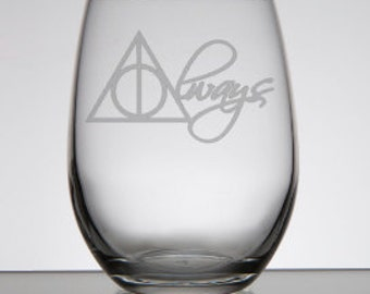 Always Harry Potter Etched Stemless Wine Glass