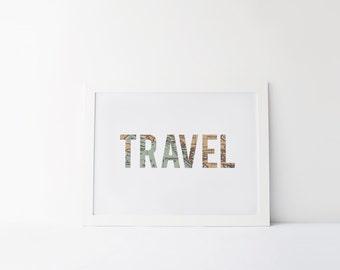 "PRINTABLE Art ""Travel"" Vintage art Print Typography Art Print Travel Wall Art Vintage Travel Instant Download Modern Room Decor Word Wall"