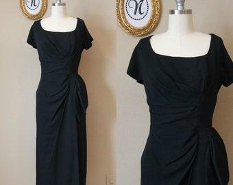 Vintage 1950s ~ 60s Black Wiggle Waist Drape Dorothy O'hara.