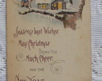 Funny Old Christmas Postcard with Anthropomorphic Chipmunk or Squirrel and His Log Cabin in the Snowy Tree by Gartner & Bender 1919 - 5189d