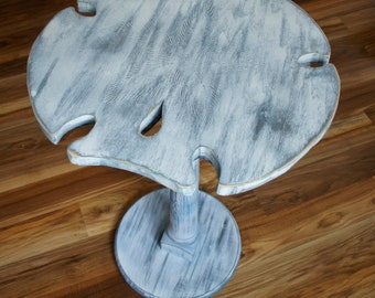 Sand Dollar Wine Table,  Ocean Table, End Table, Shabby Chic, Castaway, Night Table, Night Stand, Cottage, Beach House, Shell, Rustic Wood