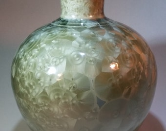 Crystal Glazed Vase - Silvery-Green Crystals