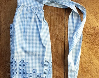 Vintage Apron | Blue + White Gingham Apron with Embroidery