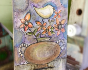 "Mixed Media Floral OOAK Original ""Birdy on Flower"""