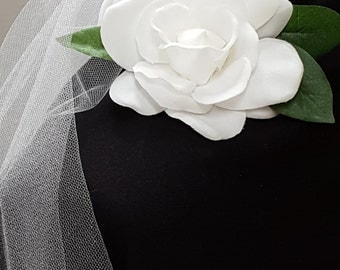 Beautiful white gardenia hair accessory
