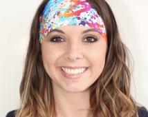 White Paint Splatter | Fitness headband | Yoga headband | Wide headband | Workout headband | Color Run Headband | Buy Any 4, Get 1 FREE!