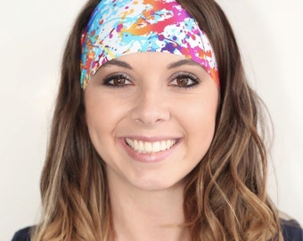 Yoga headband | Wide headband | Workout headband | Color Run Headband | White Paint Splatter | Fitness headband | Buy Any 4, Get 1 FREE!