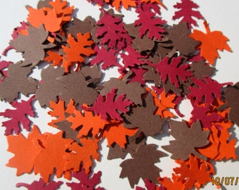 1,000-Fall Leaf Confetti-maple leaves-paper leaves-fall leaves-Thanksgiving-wedding decorations-oak leaves-large-small leaves-autumn die cut