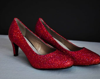 Red glitter shoes | Etsy
