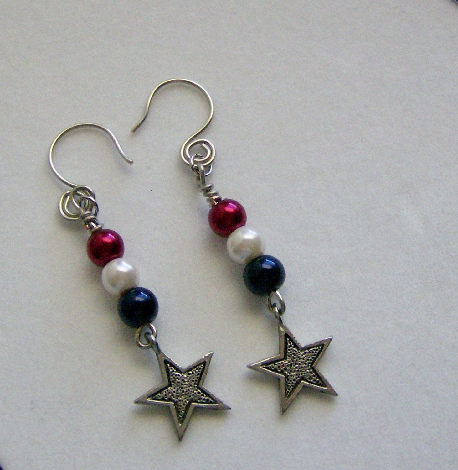 4th of july earrings 4th of july and stripes dangle earrings glass bead 5763