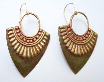Tribal Earrings/ Hoop Earrings/ Tribal Hoops/ Patina Earrings/ Patina Hoops/ Antiqued Hoops/ Aztec Jewelry/ Boho Chic/ Antiqued Gold Hoops