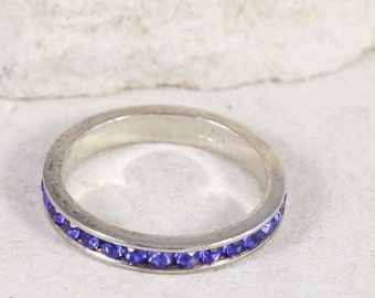 Sterling Silver Channel-Set Blue Quartz STACK Band Ring NBJ124 Stacking Ring Size 6