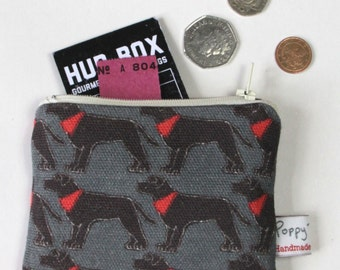 Small useful purse in muddy paws fabric