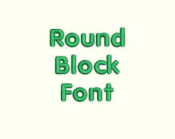 Round Block Embroidery Font Machine Embroidery Monogram Font Designs 3 Size BX Embroidery Fonts - INSTANT DOWNLOAD