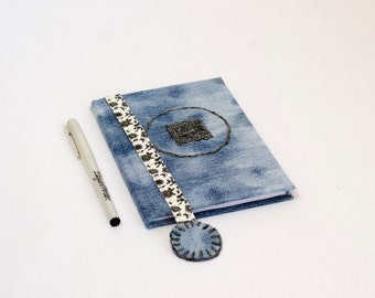 STOP Button, Journal, Notes, Diary, Notebook,  Recycled Jeans, Hand embroidery, Recycled denim, Pause diary, fabric covered journal