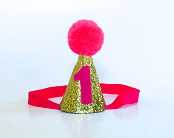 Bright Pink and Gold First Birthday Party Hat, Glitter hat, First Birthday, Party Hat, Cone Hat, Pom Pom Hat, Baby Party Hat