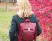 Burgundy Fringe Leather backpack/ Leather bag / boho backpack / Woman leather backpack /metallic luster leather Bag, spring fashion
