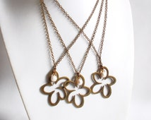 No. 8333JN - Open Flower Charm Brass Necklace / Flower Necklace / Open Flower Charm