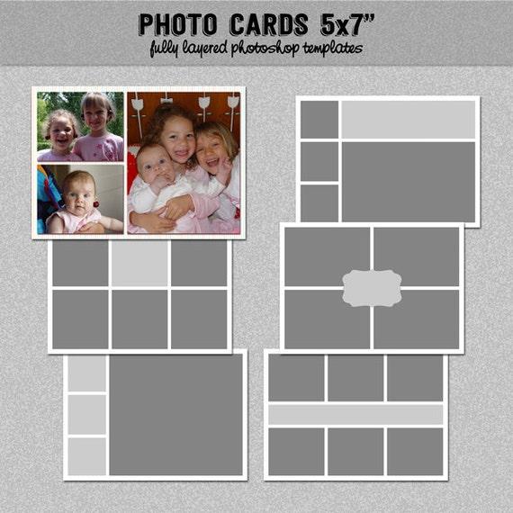 6 photo card templates 5x7 set 3 instagram collage. Black Bedroom Furniture Sets. Home Design Ideas